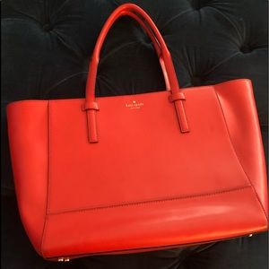 Kate Spade Red Tote W/ Polka Dot Lining